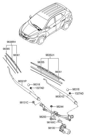 Genuine Hyundai 98110-2S000 Windshield Wiper Motor Assembly