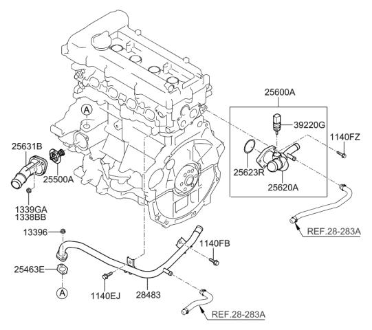 2012 Hyundai Accent Coolant Pipe & Hose - Hyundai Parts DealGenuine Hyundai Parts