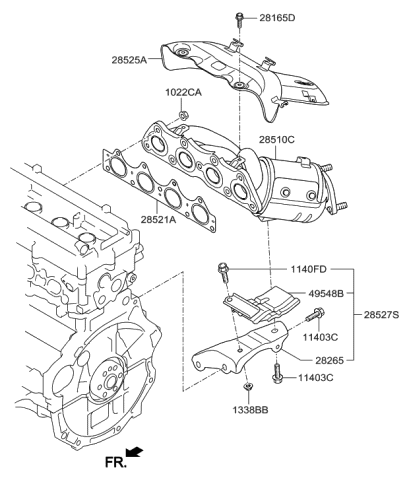 2012 Hyundai Accent Exhaust Manifold - Hyundai Parts DealGenuine Hyundai Parts
