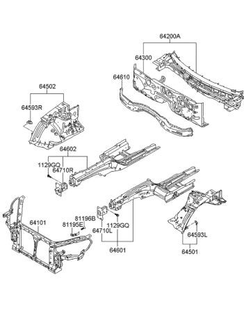 Genuine Hyundai 64502-0W500 Fender Apron Panel Assembly