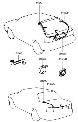 1994 Hyundai Excel Trunk Lid Tail Gate Wiring