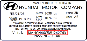 Hyundai VIN - What is Hyundai VIN and Locations of Hyundai VIN?